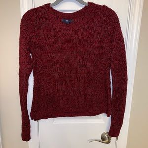 Red and black crew neck sweater